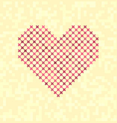 cross-stitched heart vector image