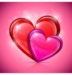 Glossy heart icons vector image