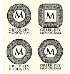 Greek Key Ornament Monogram Set vector image