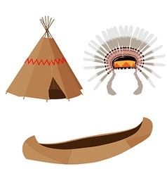 Wigwam canoe and headdress vector image