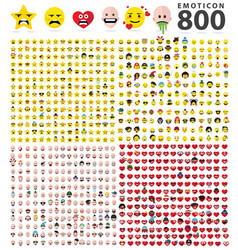 800 flat emoticons symbols vector image