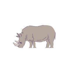 African rhino eating semi flat rgb color vector