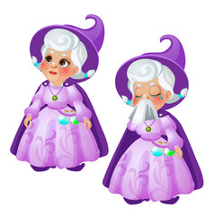 An elderly woman fairy in a purple suit and hat is vector