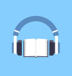 Audiobook headphones over open textbook audio book vector