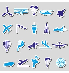aviation big set of simple blue stickers eps10 vector image