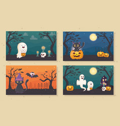 Banners ghost cat pumpkin lantern halloween vector