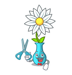 barber vase with bouquet of beautiful cartoon vector image