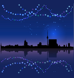 berlin silhouete and chritsmas lights vector image