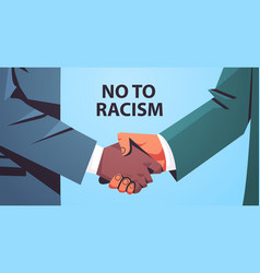 black and yellow handshaking poster against racism vector image
