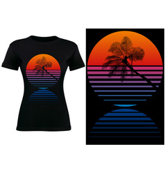 Black t-shirt design with tropical palm silhouette vector