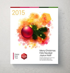 Bright Christmas card with realistic decoration vector