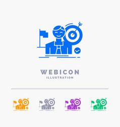 business goal hit market success 5 color glyph vector image