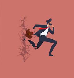businessman run breaking the wall vector image