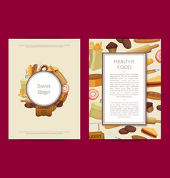 cartoon bakery card or flyer template vector image