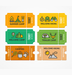 cartoon color camping ticket and thin line icon vector image