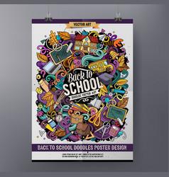 Cartoon hand drawn doodles school poster design vector