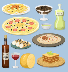 cartoon italy food cuisine homemade cooking fresh vector image