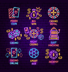 casino neon label set vector image