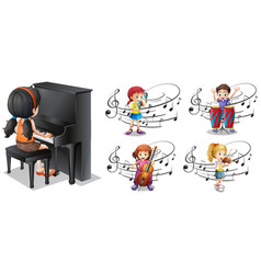 children playing different musical instruments vector image
