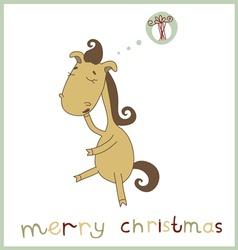 Christmas Card with Cartoon Horse vector image