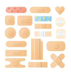 Collection adhesive bandages plasters or vector
