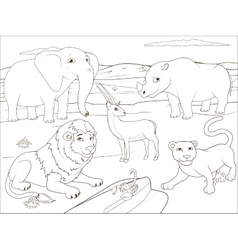 Coloring book educational game for children vector image