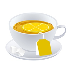 cup of black tea with lemon vector image