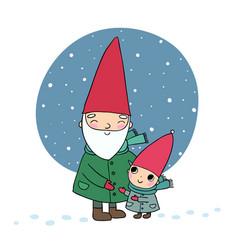cute cartoon gnomes christmas elves grandfather vector image