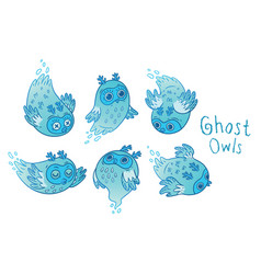 Cute ghost owls set in blue colors vector