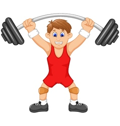 cute man athlete doing weightlifter vector image