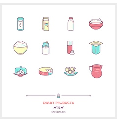DIARY PRODUCTS Line Icons Set vector image