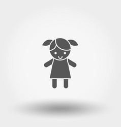 Doll toy icon silhouette flat design vector