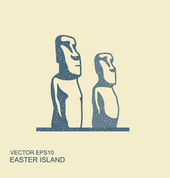 easter island statues icon in vector image