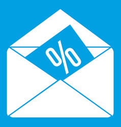 Envelope with percentage icon white vector