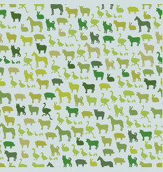 Farm animals silhouette seamless pattern zoo vector