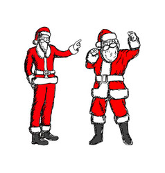 Fat and thin santa claus sketch vector