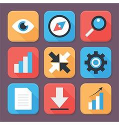 Flat Stylized Business App Icons Set vector image