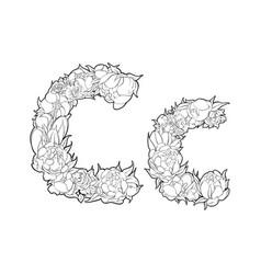 Flower alphabet the letter c vector