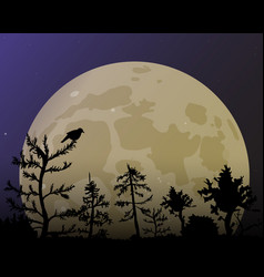 Forest on the background of the yellow moon vector