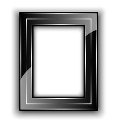Frame for photo Black with metal lines vector image