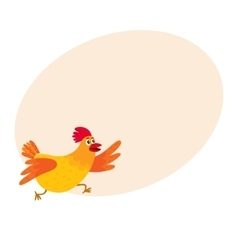 Funny cartoon red and orange chicken hen rushing vector image