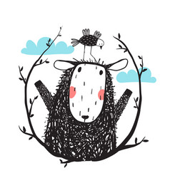 funny sheep and bird portrait with laurel vector image