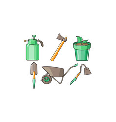 Gardening tools icons set sprayer bottle ax vector