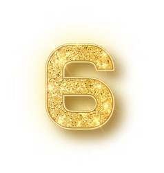 Gold glitter alphabet numbers 6 with shadow vector