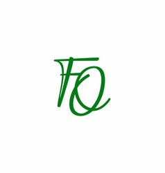 green fq initial letter logo vector image