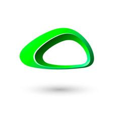 green triangle logo frame icon design vector image