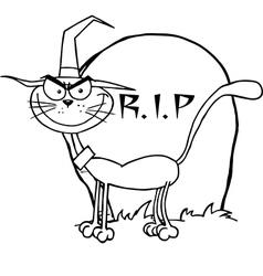 Halloween cartoon cat vector image