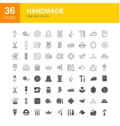 handmade line web glyph icons vector image