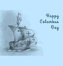 Happy columbus day flat design greeting card vector