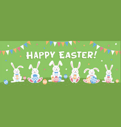 happy easter horizontal banner or cover easter vector image